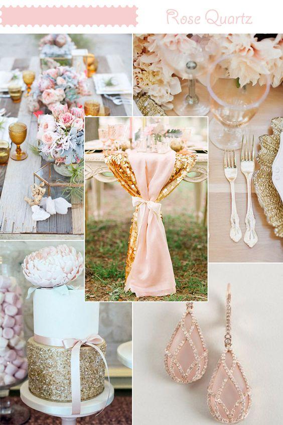 Decoraci n de bodas en rosa cuarzo y azul serenity 30 ideas for Decoracion de pared para novios