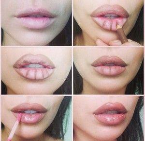 Un truco de maquillaje de labios para que se vean mas carnosos.