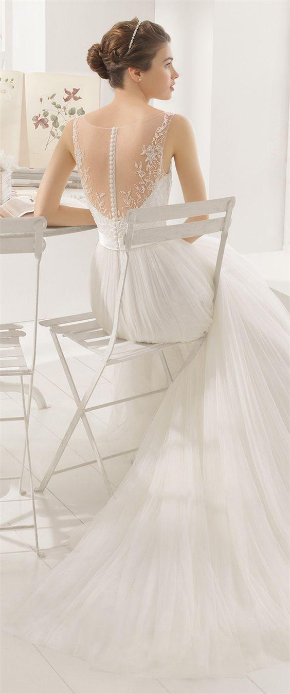 Vestido de novia blanco de Aire Barcelona 2016
