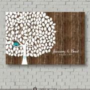 Arbol de huellas para boda pintado en papel imitación madera y personalizado para una boda rústica (para 225 invitados $65.00)