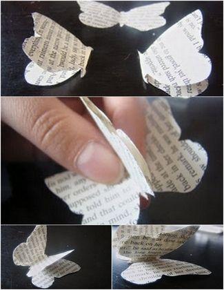 Cómo hacer cortinas de papel para bodas con mariposas.
