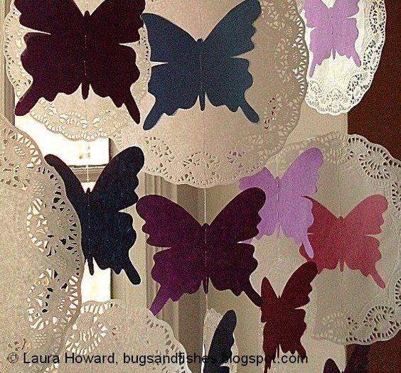 Tutorial para hacer cortinas de mariposas y blondas de papel.