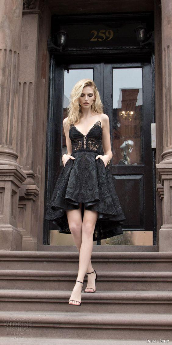 Vestido de novia corto en negro de Inbal Dror Otoño 2016.