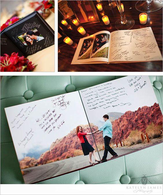 ¡El famoso fotolibro! Convierte las fotos de compromiso en un libro de firmas original en vez de hacer que tus invitados firmen un libro de firmas aburrido.