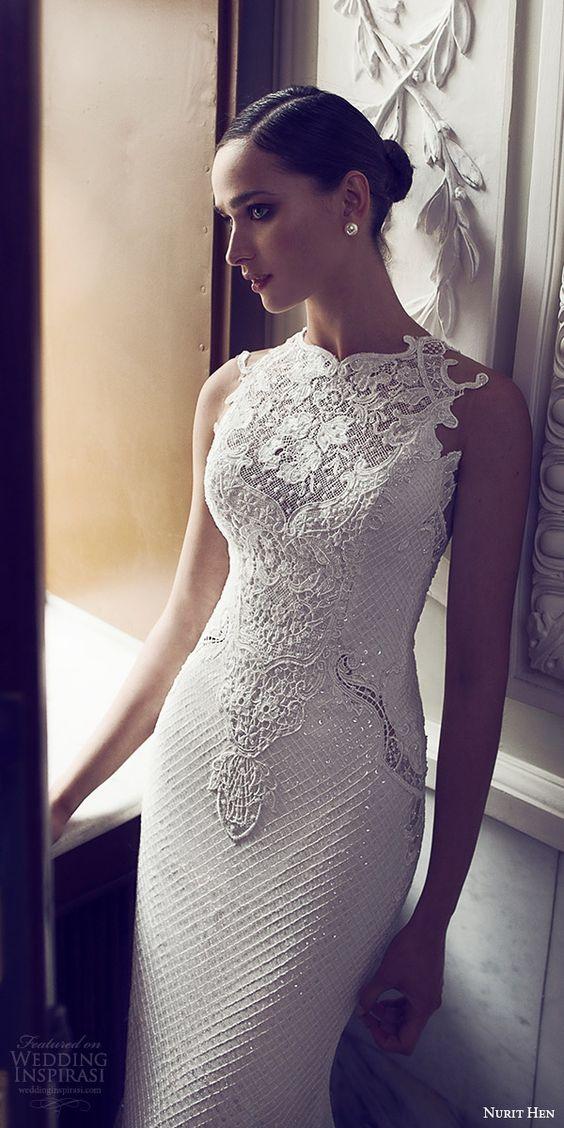 Un vestido de novia blanco de la colección 2016 de la diseñadora israelí Nurit Hen.