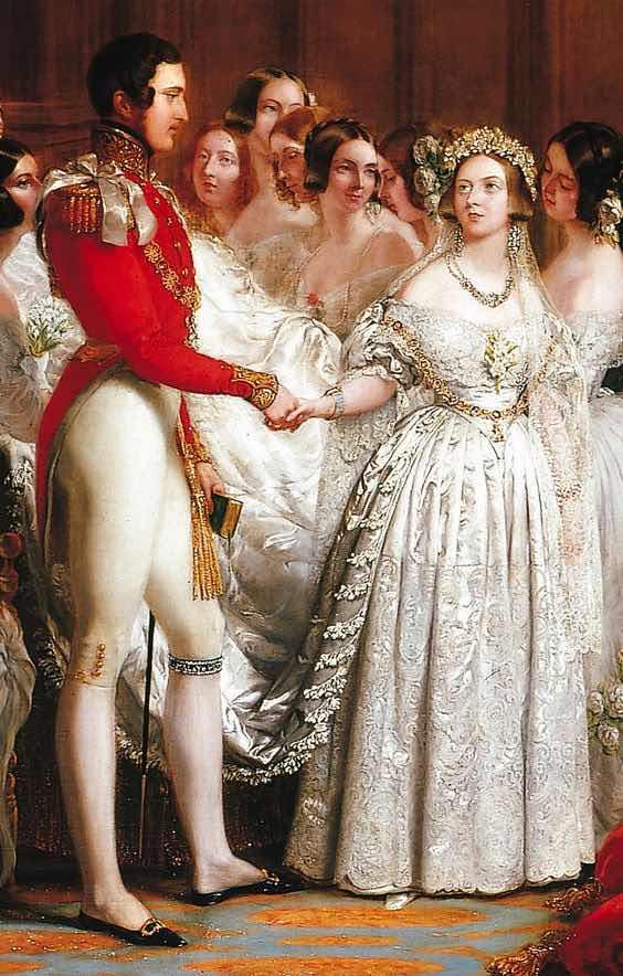 El famoso vestido de novia blanco que lo inició todo. La boda de la Reina Victoria y el Príncipe Albert, el 10 de Febrero de 1840. Foto: Royal Collection Trust.