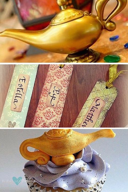 Aladdin themed wedding details. 1- Add some magic lamps and make your guests' wishes come true 2- For the budget conscious brides, Aladdin inspired favors 3- Disney themed wedding cupcakes