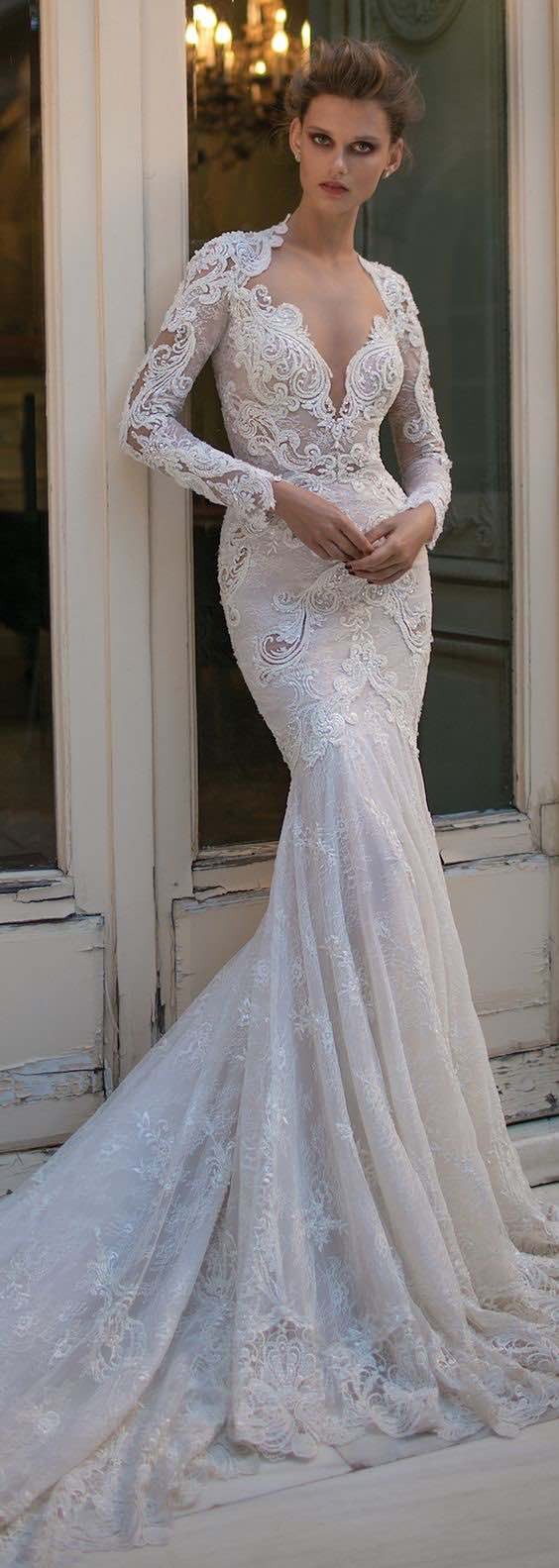 We adore this Berta Bridal Spring collection. Lace, embroidery and sheer fabrics.