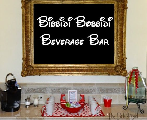 """Bibiddy Bobbidy Boo"" Beverage Bar for a Disney Themed Wedding by the Partiologist."