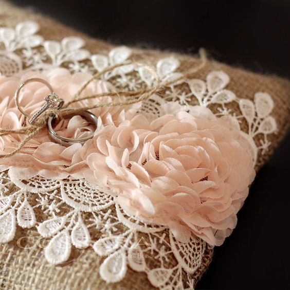 Rustic Shabby Chic or vintage burlap ring pillow with blush chiffon flowers and lace embellishment.