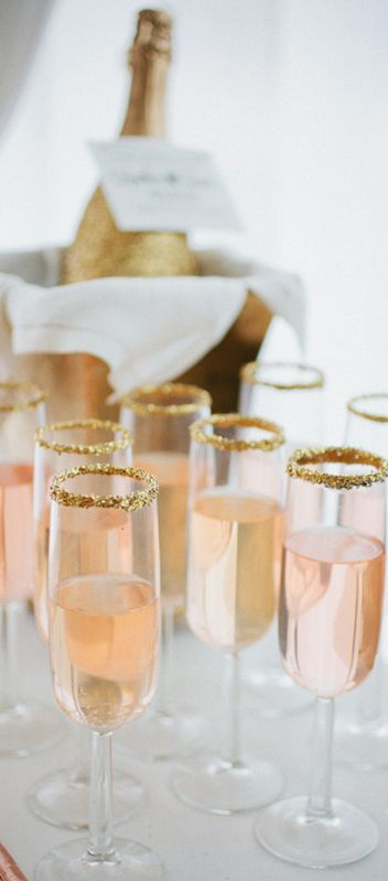 Blush wedding details. Blush champagne with gold sugar trim.