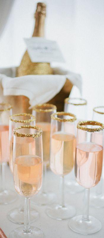 Blush toned wedding details. Blush champagne with gold sugar trim.