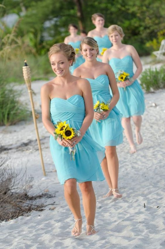 Chiffon bridesmaid dresses for beach weddings.