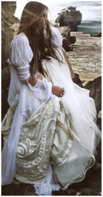 Dreamy beachy boho white wedding dress