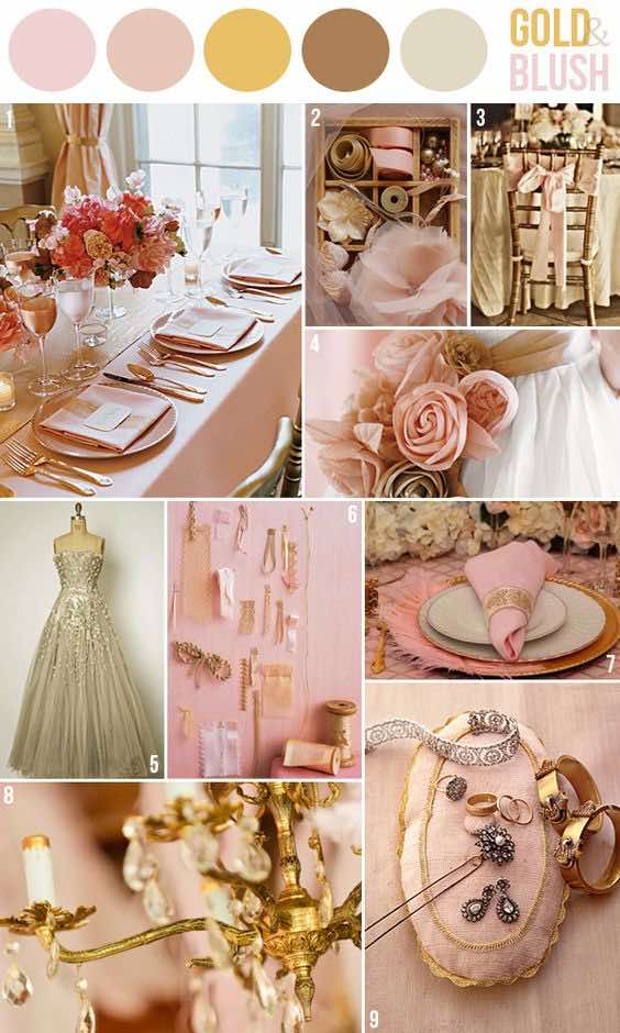 Gold and blush are a most suitable pair for a romantic glam wedding.