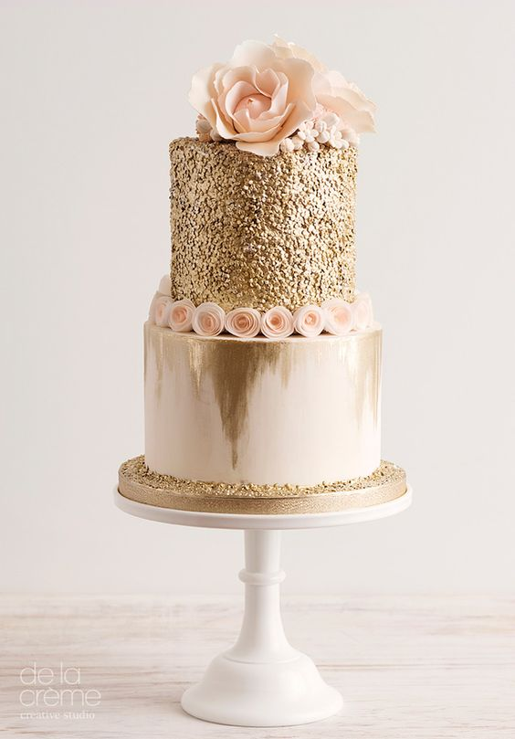 Gold sequined and blush wedding cake. Could not be more on trend for this year.