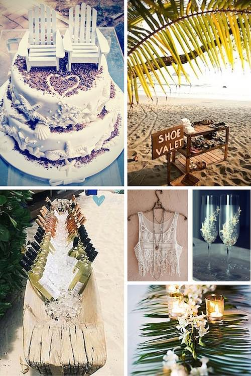 How to plan a beach themed wedding ceremony - Costa Rica weddings, an original idea for an open wedding bar on a canoe. Shoes do not have to get buried in the sand while your guests attend your beach themed wedding ceremony.