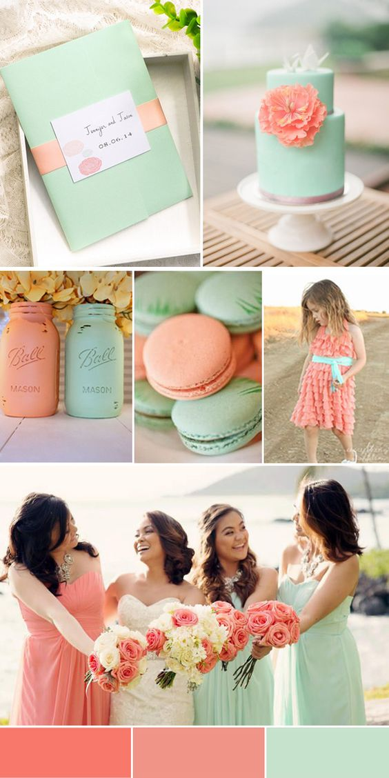 Peach Echo, a 2016 Pantone top 10 color of the year to add a pop of color to your beach themed wedding ceremony.
