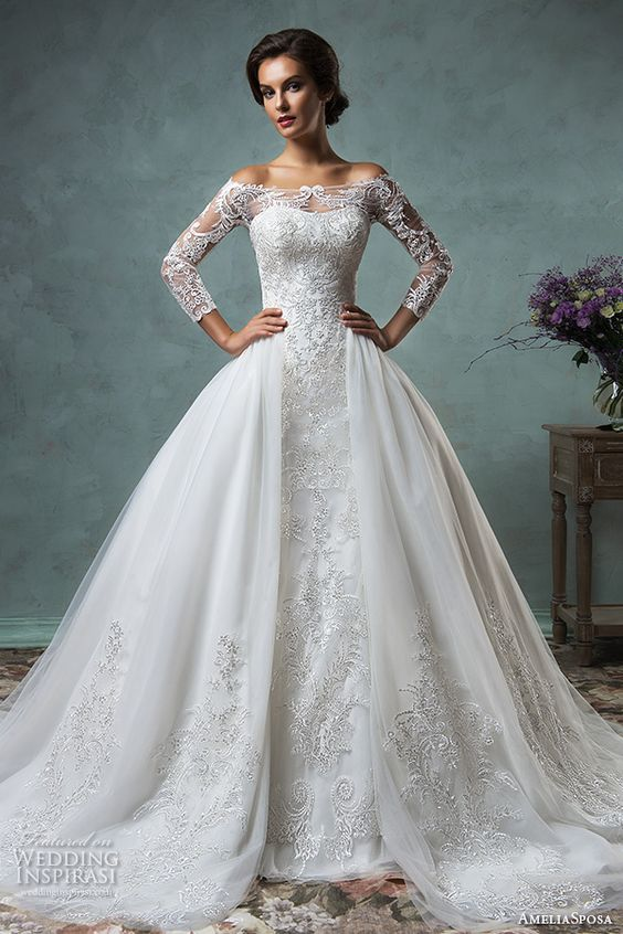 Princess style, white wedding dress from the 2016 Amelia Sposa collection.