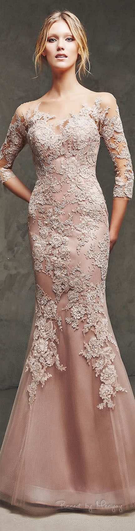 Pronovias 2016 blush wedding dress. Love the lace detail!