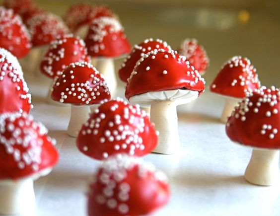 Add these chocolate filled toadstools to your Snow White inspired dessert table.