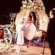 Straight out of a fairytale wedding. Arrive to the wedding in a pumpkin carriage.