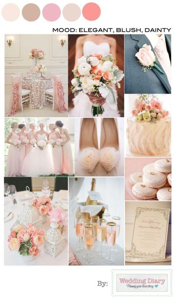 Una boda romántica en tonos rosas, blush y grises.