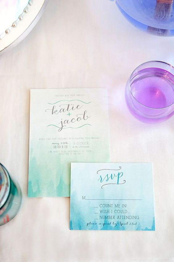 What better idea for beach wedding invitations than watercolors in turquoise tones?