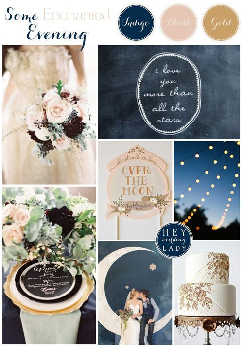 Get married amongst the stars. A wedding with a lot of magic. Blush, indigo and gold wedding: original, classy and romantic.