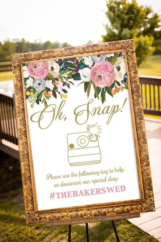 Cartel para bodas románticas en blush de jardín.