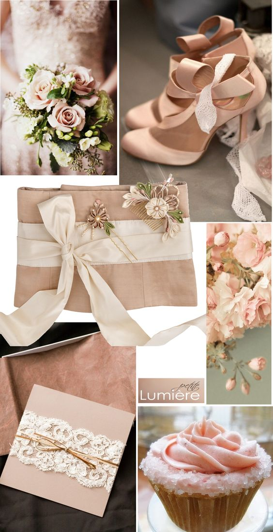 Delicate wedding color scheme Soft blush and green with a dash of ivory.