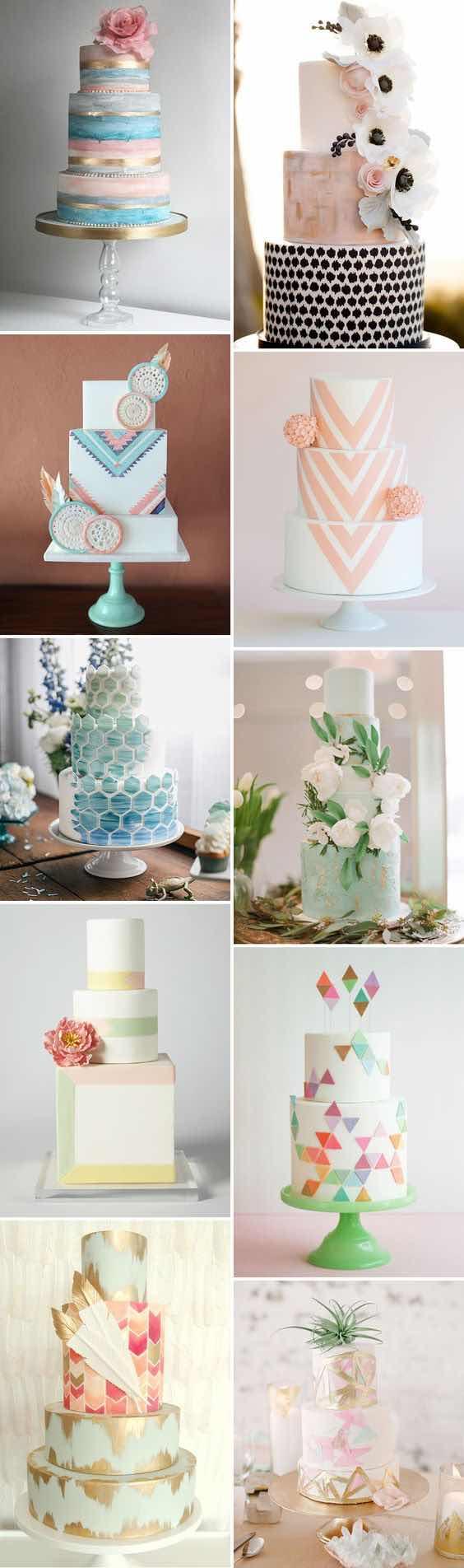 Pasteles de boda con los tonos de la naturaleza playera.