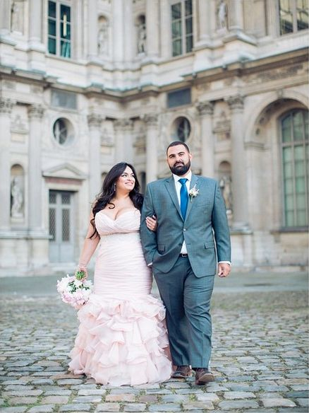 A curvy Parisian bride in her ruffled blush pink wedding dress. Gorgeous!!!