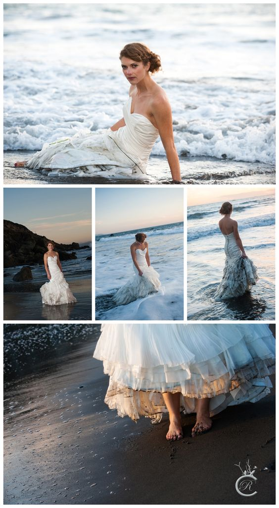 La playa te permite organizar una sesión de fotografía Trash the Dress increíble. Fotografía: Carrie Richards Photography. Muir Beach, CA