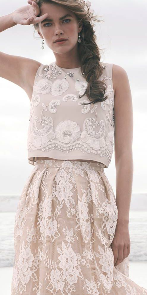 Blush lace short dress perfect for the civil ceremony.