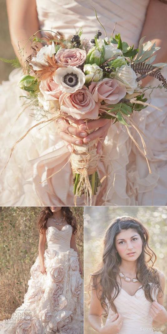 Un photo shoot muy bohemio con vestidos de novia de Sareh Nouri en rosa y blush.
