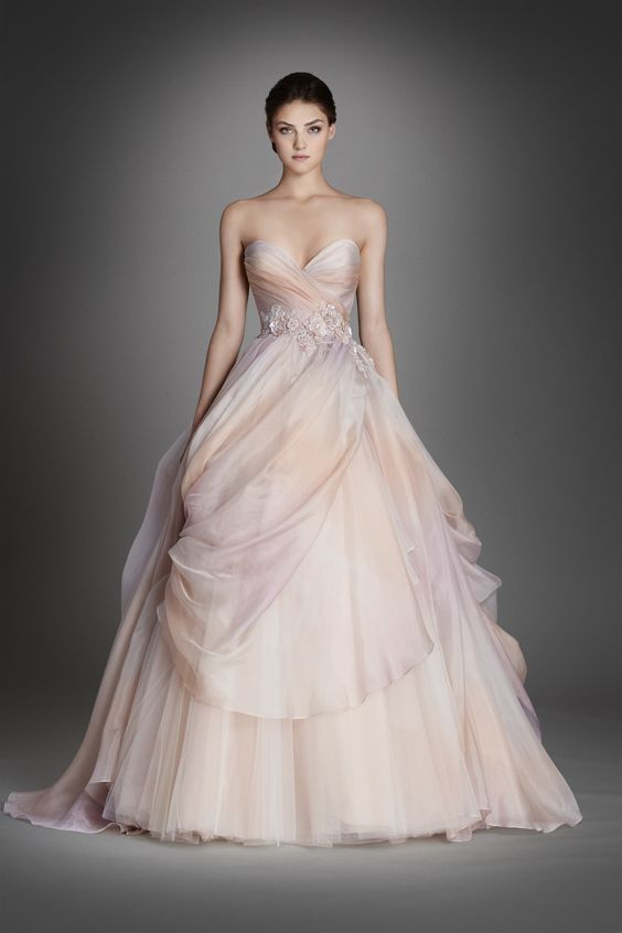 Non-traditional watercolor wedding gown by Lazaro 2016. Swoon!!