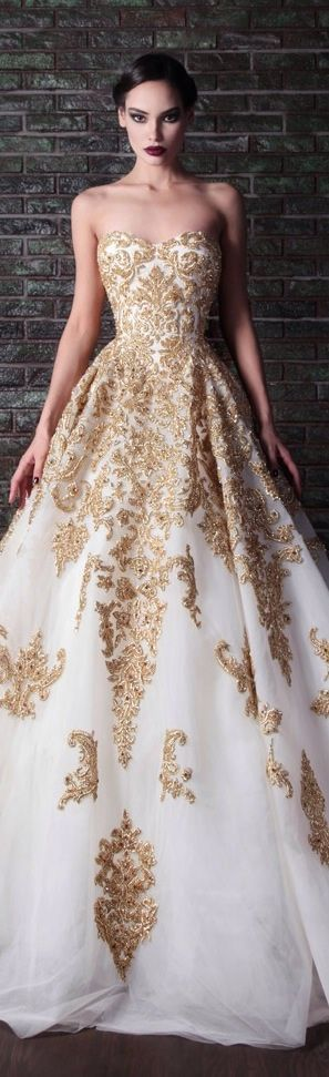 Will the white wedding dress tradition continue find out a dream in white and gold a creation by designer rami kadi influenced by junglespirit Choice Image