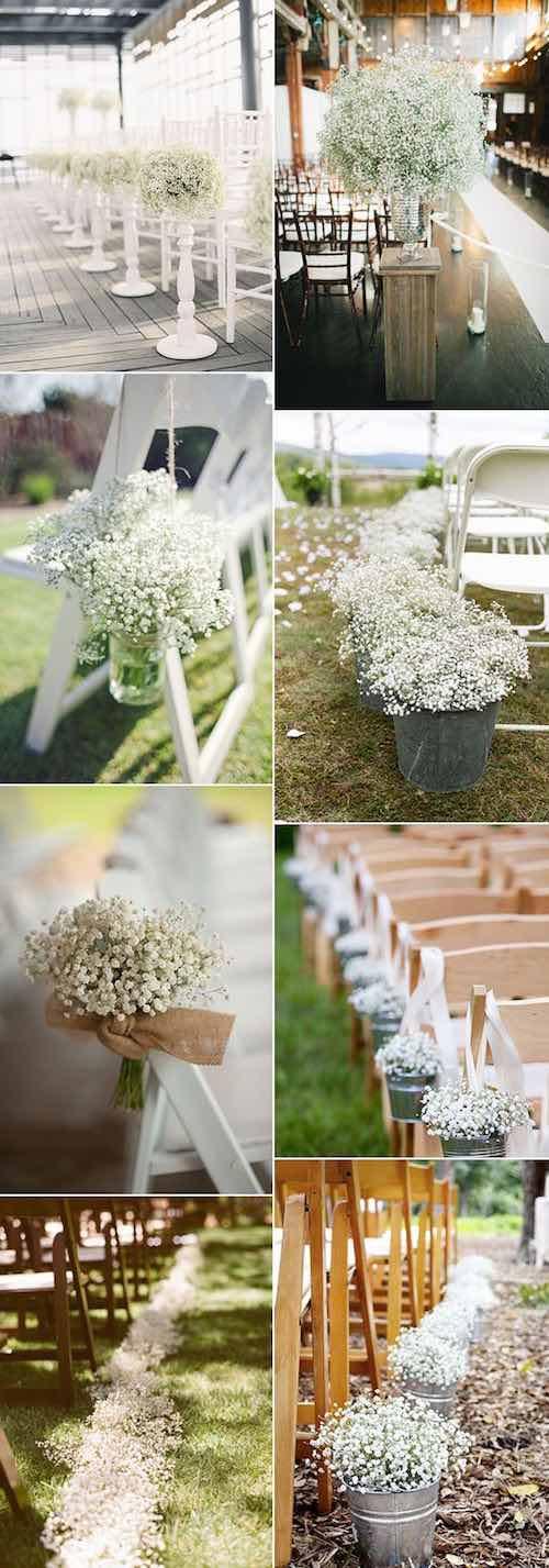Arreglos florales para boda con baby's breath, Gipsófila o Paniculata. ¡Encantadores!