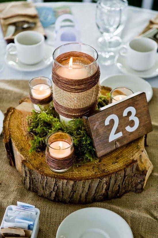 Centros de mesa rústicos con velas musgo y arpillera, un sueño.