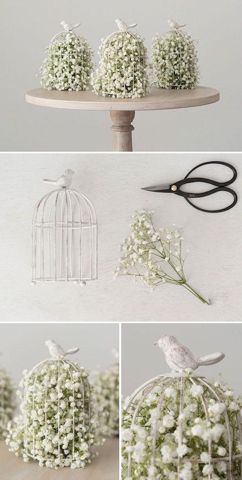 Como armar arreglos florales para boda con jaulas de pájaros y paniculata, muy vintage.