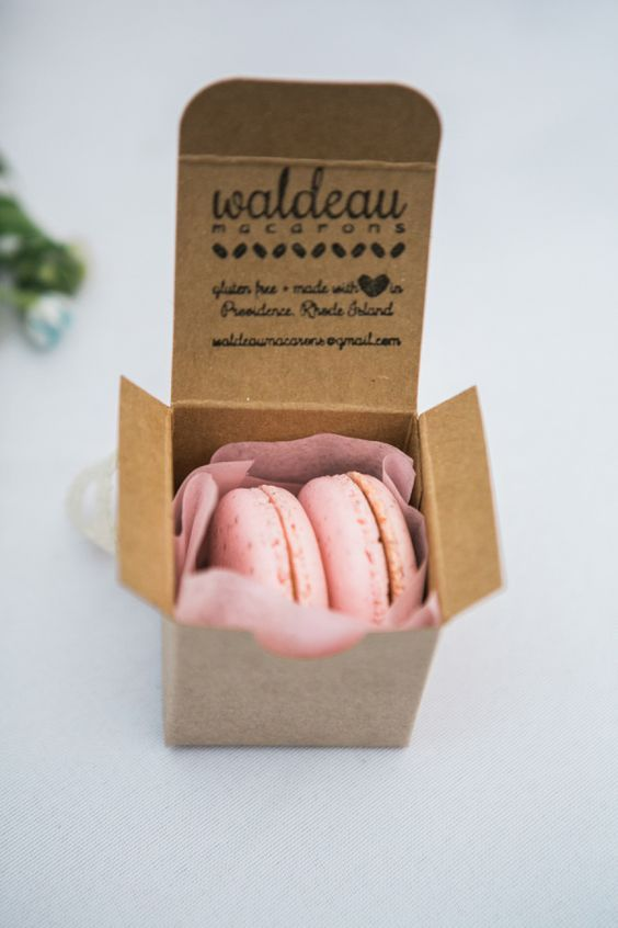 Sweet macaron wedding favor boxes.
