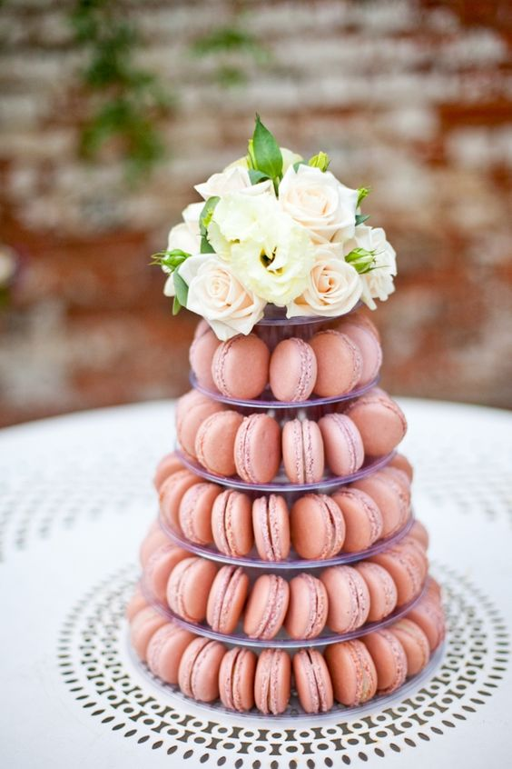 Vintage peach wedding macaron tower designed by Gaby Frescura of SouthBound Bride and photographed by Anneli Marinovich Photography.