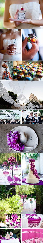 Una boda mexicana en un jardín con encantadores detalles. LA River Center and Garden Wedding Photos. Mexican style garden wedding.