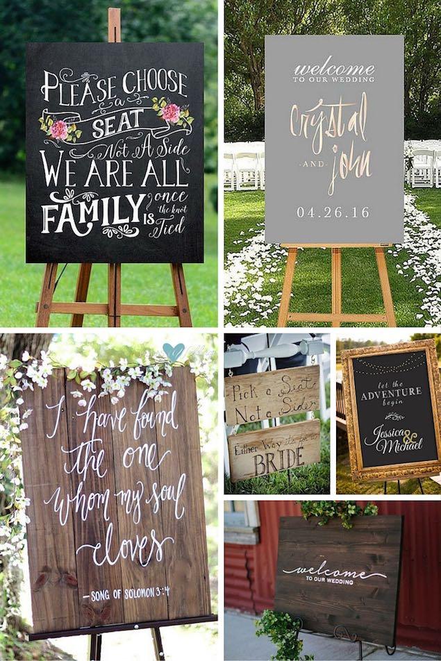 Carteles de jardines para bodas. En orden de aparición: 1- Una dulzura de cartel imprimible, perfecto para hacerle saber a los invitados como quieres que se sienten. 2- No podemos olvidarnos de los carteles de bienvenida en los jardines para bodas. Este delicado cartel en rosegold es un imprimible. 3- cartel de madera para bodas al aire libre. 4- Simpatiquísimo cartel para bodas con dos novias. 5- Si tu boda es estilo Gatsby, este cartel en negro y dorado imitación pizarra e imprimible puede ser una buena adición a la decoración de tu fiesta. 6- Otro cartel de bienvenida. | Garden wedding signs