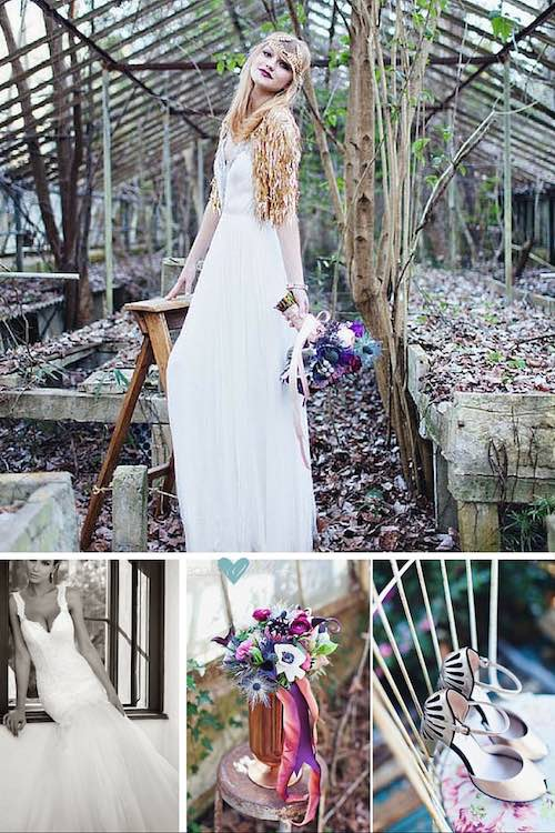 Las bodas en un invernadero abandonado se prestan a una fotografía casi mágica. Un look vintage chic y un par de tacones con mas base para poder caminar por el jardín cómodamente. Vestidos para novias de diseñadores estilo trompeta con escote corazón. | Jewel toned vintage wedding.