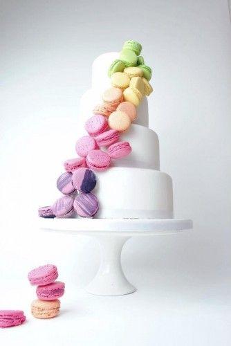 Cascading macarons wedding cake. So pretty!