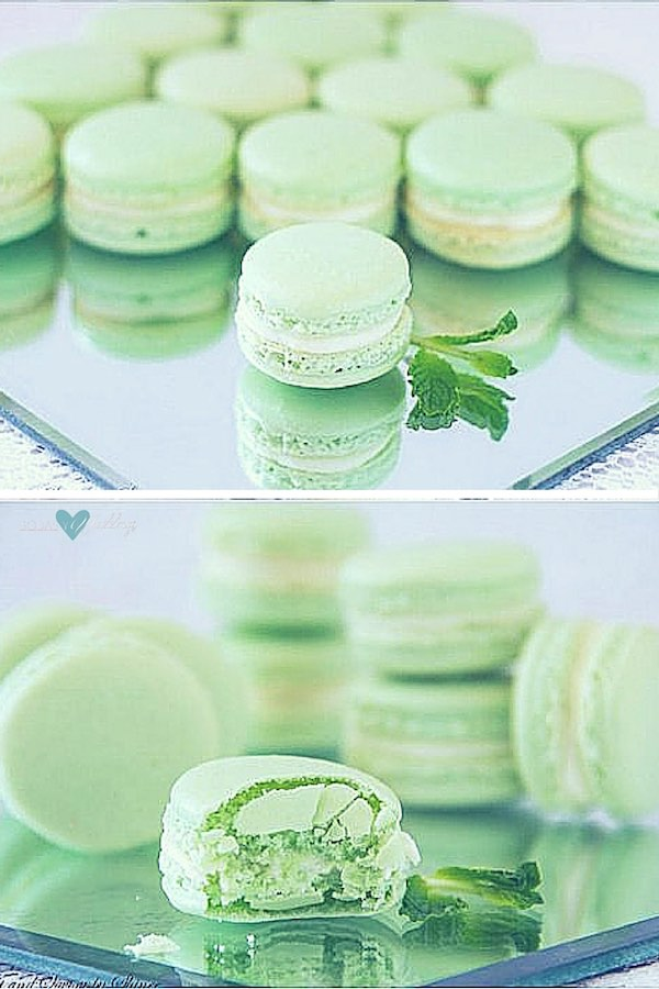 Refreshing mint French macarons with minty white chocolate ganache filling are perfect for a spring wedding.