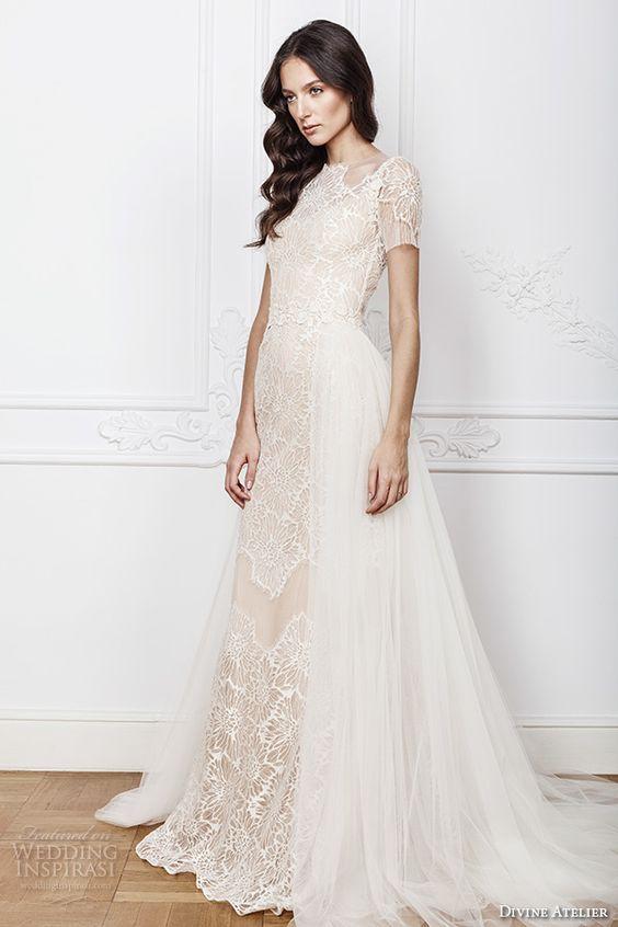 7e276d7ec Trajes de novia estilo sheath vintage super románticos con escote redondo  translúcido