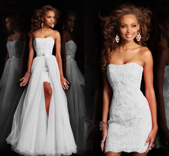 Vestido de novia con falda desmontable, sequins de cristal y encaje.